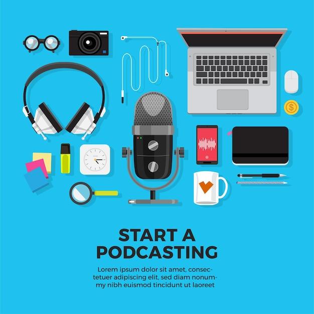 イラストコンセプトデザインポッドキャストチャンネル。チームワークはポッドキャスティングを作ります。スタジオマイクテーブルは人々を放送します。ポッドキャストラジオアイコン。