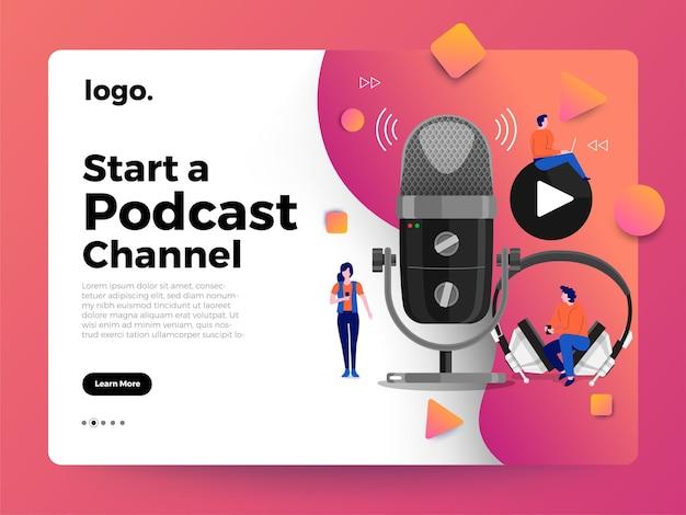 イラストコンセプトデザインポッドキャストチャンネル。チームワークはポッドキャスティングを作ります。スタジオマイクテーブルは人々を放送します。ポッドキャストラジオ。