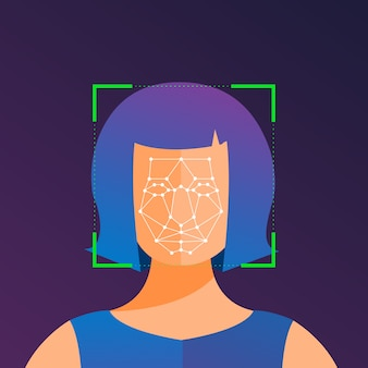 Illustrations concept facial recognition technology present with portrait closeup to face of human for scan.  for banner website publisher or magazine.  illustrate.