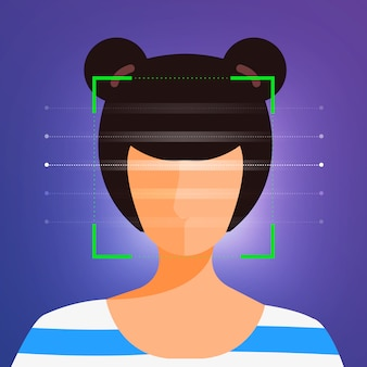 イラストコンセプトの顔認識技術は、スキャンのために人間の顔にポートレートクローズアップで表示されます。バナーのウェブサイトの発行者または雑誌用。説明します。