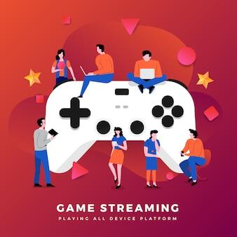 Иллюстрации концепции игровой потоковой платформы