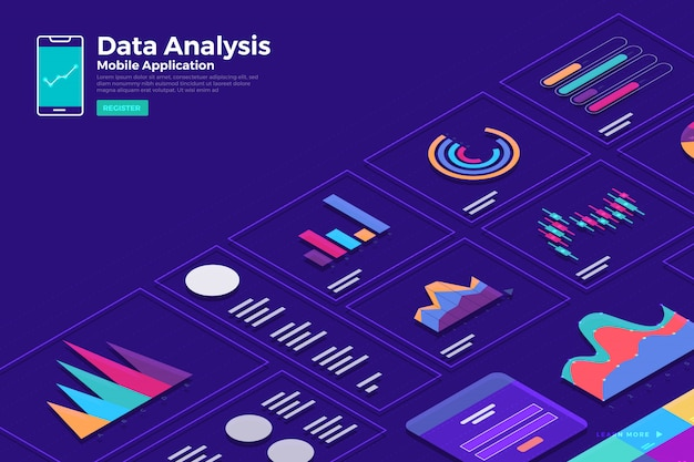 イラストコンセプト等尺性データ分析と静的なウィットグラフとグラフのグラフィックを報告します。ウェブサイトテンプレートバナーのテンプレート。説明します。
