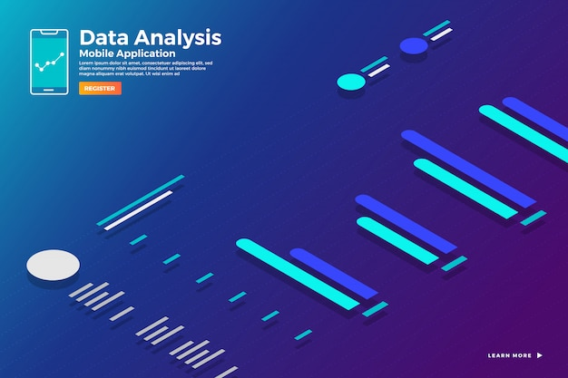 Illustrations concept isometric data  analysis and report static wit graph and chart graphic. template  for website template banner.  illustrate.