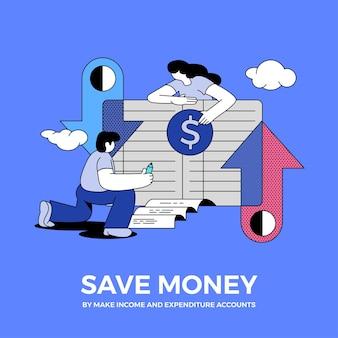 삽화 개념은 돈을 저축합니다. 설명합니다.