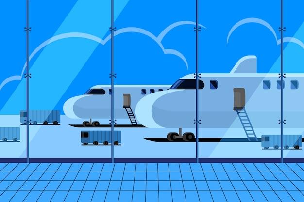 Иллюстрации концепция аэропорт в терминале ожидания приземления самолета
