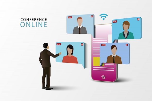Illustrations concept video conference. online meeting on mobile phone. live meeting online. social media.