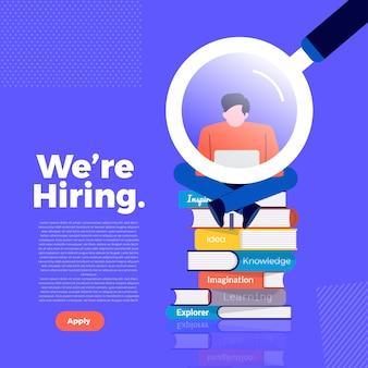 우리가 고용하는 삽화 개념. 직원 찾기를 발표하고 직원을 회사에 모집합니다. 설명합니다.