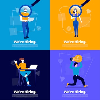 Illustrations   concept we're hiring. announce  finding employee and recruit worker to company.  illustrate.