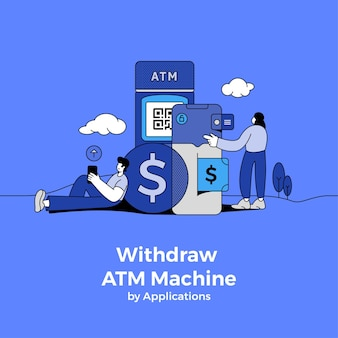 Illustrations concept withdraw from atm by application. cardless technology.  illustrate.