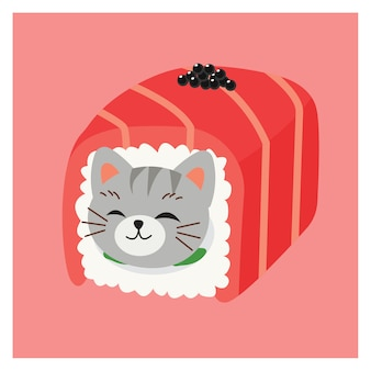 Illustrations of cute kitty cat in sushi,  japanese sushi rolls, tuna roll with caviar. kawaii vector sushi cat.