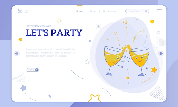 Illustrations cute party glass and let's have a new year party on the landing page