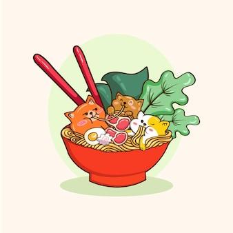 Иллюстрации милый щенок сиба ину корги смешной мультяшный ест