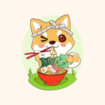 Иллюстрации милый щенок шиба ину смешной мультяшный ест