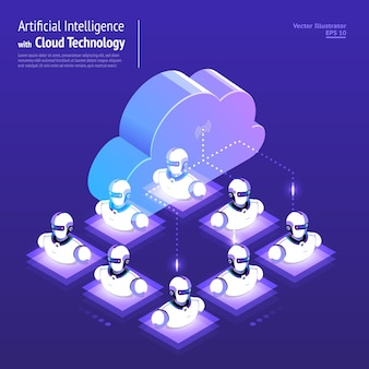 Illustrations design concept digital network with cloud technology and artificial intelligence