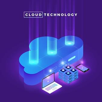 Иллюстрации концепция дизайна цифровой сети с облачными технологиями