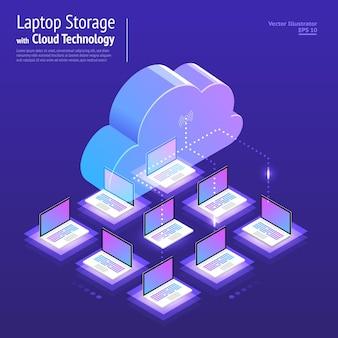 イラストデザインコンセプトデジタルネットワークとクラウドテクノロジー