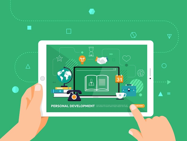 Illustrations design concpt e-learning with hand click on tablet online course personal development