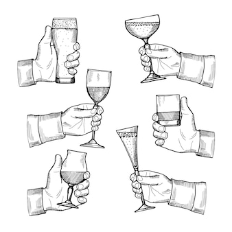 Illustrations of different alcoholic drinking glasses in hands.