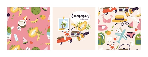 Illustrations of different travel, vacation or holiday elements. collection of summer vacation trip.