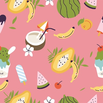Illustrations of different tropical fruits and ice cream. seamless pattern of exotic summer.