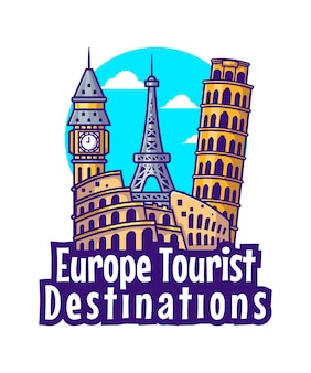 Illustrations of europe tourist destinations. world tourism day, building and landmark icon concept
