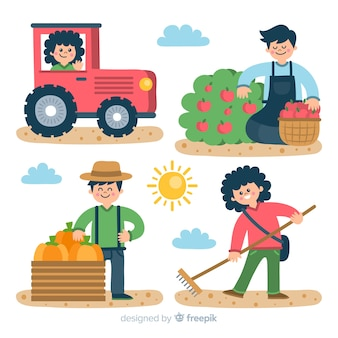 Illustrations of farmers working set