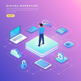 삽화 평면 디자인 컨셉 디지털 마케팅