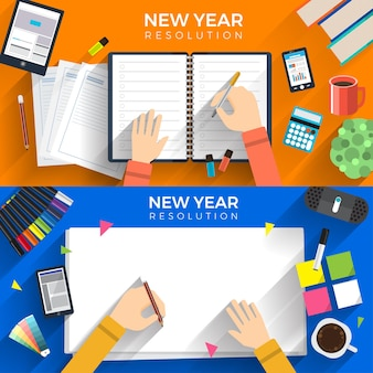 Illustrations flat design concept new year resolutions via set goal with write on paper for mission success.  illustrate.