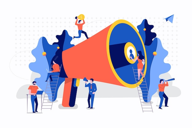 Illustrations flat design concept teamwork small people businessman working together