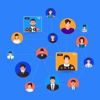 삽화 평면 디자인 컨셉 화상 회의. 온라인 회의 작업 양식 집. 전화 및 라이브 비디오.