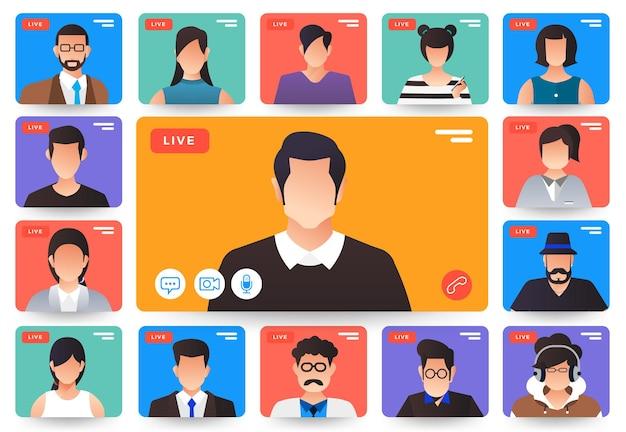 イラストフラットデザインコンセプトビデオ会議。自宅からのオンライン会議作業。電話とライブビデオ。
