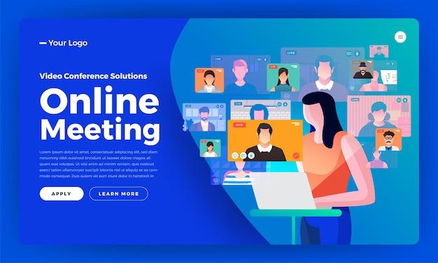 Иллюстрации плоский дизайн концепции видеоконференции. онлайн-встреча, рабочая форма дома. звонок и живое видео.