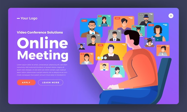 Illustrations flat design concept video conference. online meeting work form home. call and live video.