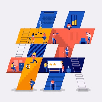 Illustrations flat design concept working space building icons hashtag