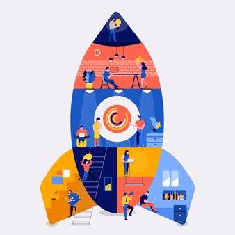 Иллюстрации плоская концепция дизайна рабочее пространство здание ракета как запуск компании