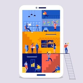 Illustrations flat design concept working space for building social media platform