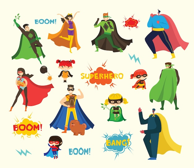 Illustrations in flat design of female and male superheroes in funny comics costume