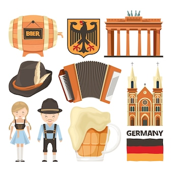 Illustrations of germany landmarks and cultural objects