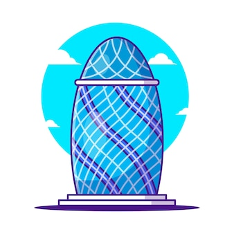 Illustrations of the gherkin building. world tourism day, building and landmark icon concept