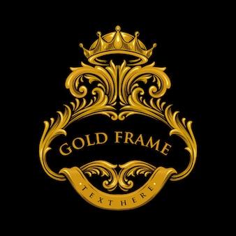 Иллюстрации золотая премиальная рамка с короной хорошо и значки вашего дизайна