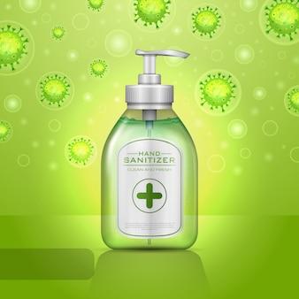 コロナウイルス病covid-19のイラスト手の消毒剤のコンセプト