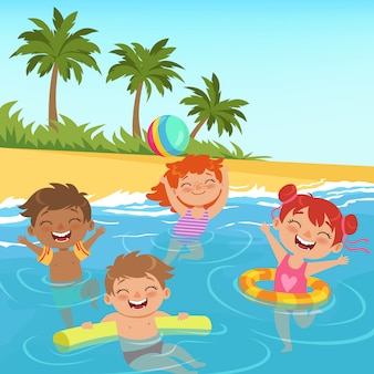Illustrations of happy kids in pool