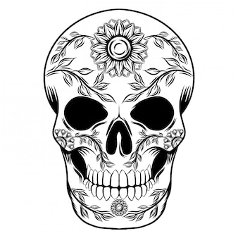 Illustrations illustration of a day of dead skull with sun flowers
