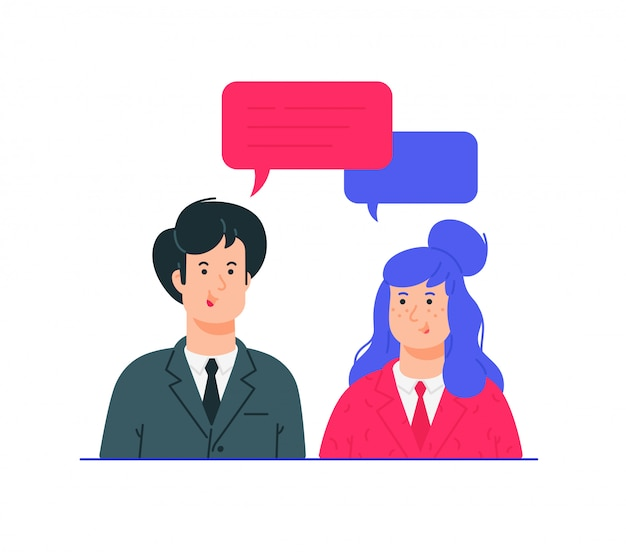 Illustrations of man and woman in business suits.