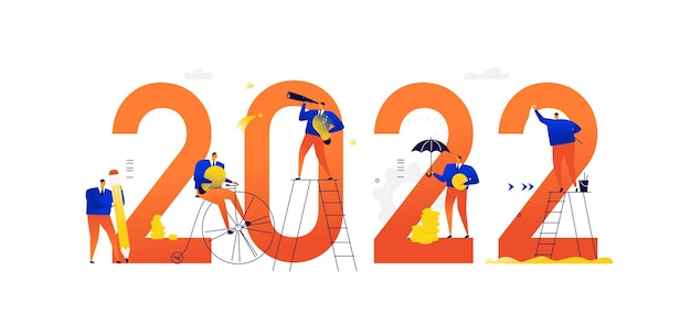 Illustrations of the new 2022 meeting the new year business people achieve their goals and make a career