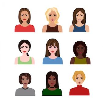 さまざまなヘアスタイルの美しい若い女の子と女性のさまざまな国のイラスト。フラットな漫画のスタイルの女性のアバター。