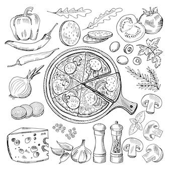 고전적인 이탈리아 요리의 삽화입니다. 피자와 다른 재료. 패스트 푸드 사진 세트