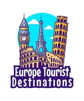 Иллюстрации туристических направлений европы. всемирный день туризма, концепция здания и достопримечательности