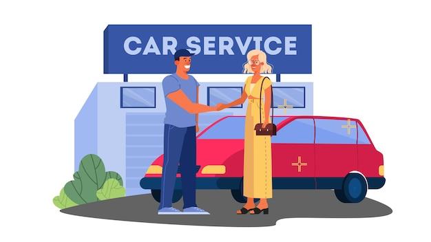 Иллюстрации счастливой женщины-водителя благодарят работника автосервиса за машину. женщина починила свою машину.