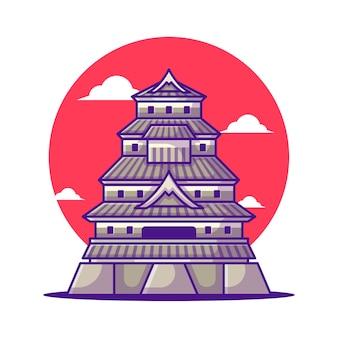Иллюстрации замка мацумото японский туризм. всемирный день туризма, концепция здания и достопримечательности